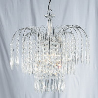 Searchlight 4173-3 Waterfall 3 Light Crystal & Crystal Chandelier
