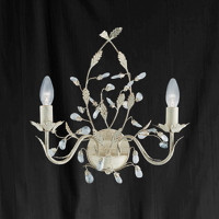 Searchlight 2492-2CR Almandite Wall Light Cream and Gold