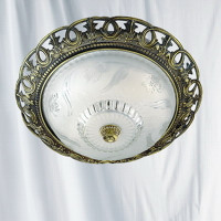 Searchlight 7045-13 Flush Antique Brass Ceiling Light
