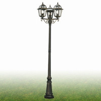 Searchlight 1528-3 New Orleans Triple Lamp Post IP44 Black Gold