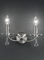 Franklite FL2225/2 Monaco Twin Crystal Wall Light Satin Nickel