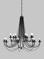 Franklite FL2173/16 Philly 16 light ironwork chandelier satin black