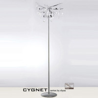 Diyas IL50419 Cygnet 6 Light Polished Chrome/White Glass Floor Lamp