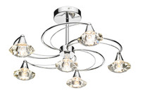 Dar LUT0650 Luther 6 Light Polished Chrome Ceiling Light