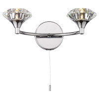 Dar LUT0950 Luther 2 Light Polished Chrome Wall Light