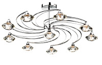 Dar LUT2350 Luther 10 Light Polished Chrome Ceiling Light
