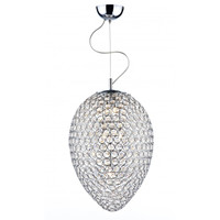 Dar FRO0350 FROST 3 Light Crystal Chrome Pendant