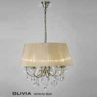 Diyas IL30057SB Olivia 8 Light Antique Brass Crystal Pendant