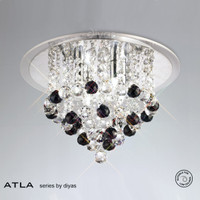 Diyas IL30008BL ATLA 4 Light Crystal Ceiling Light