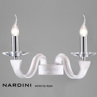 Diyas IL31022 Nardini 2 Light White Leather Wall Light