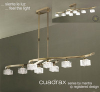 Mantra M2358AB Cuadrax 8 Light Antique Brass Pendant