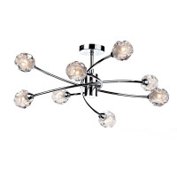 Dar SEA0850 Seattle 8 Light Semi-Flush Chrome Ceiling Light