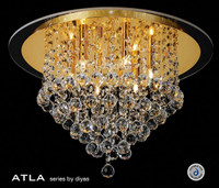 Diyas IL30209 Atla 6 Light Flush Crystal Ceiling Light Gold