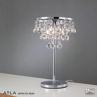 Diyas IL30028 Atla 3 Light Crystal Table Lamp Polished Chrome