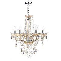 Dar RAP0506 Raphael 5 Light Chandelier Champagne Glass