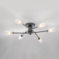 DAR MOR6467 Morgan 6 LIGHT Semi Flush Ceiling Light BLACK CHROME