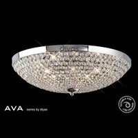 Diyas IL30189 Ava Polished Chrome Crystal Flush Ceiling Light