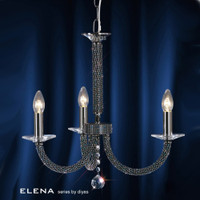 Diyas IL30473 Elena 3 Light Black Chrome Crystal Ceiling Pendant