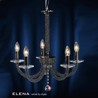 Diyas IL30475 Elena 5 Light Black Chrome Crystal Ceiling Pendant