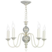 Dar FLE0512 5 Light Distressed Grey & Gold Ceiling Pendant