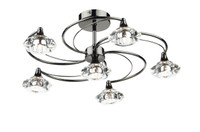 Dar LUT0667 Luther 6 Light Black Chrome Ceiling Light