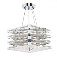 Dar CUB0550 Cube 5 Light Chrome & Crystal Ceiling Pendant