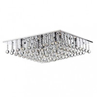 Dar ABA4750 Abacus 8 Light Chrome Flush Ceiling Light