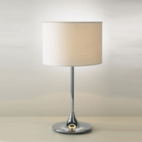Dar DEL4250 Delta Chrome Table Lamp With Cream Shade