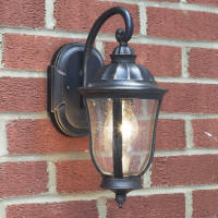 Dar JOH1635 Johnson Black Gold Outdoor Wall Light