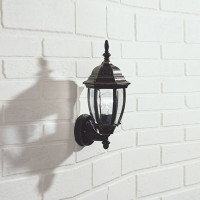 Dar HAM162235 Hambro Down Black Gold Outdoor Wall Light