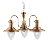 Searchlight 5333-3AB Fisherman 3 Light Antique Brass Ceiling Light