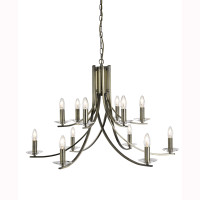Searchlight 41612-12AB Ascona 12 Light Antique Brass Chandelier