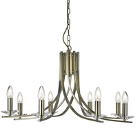 Searchlight 4168-8AB Ascona 8 Light Antique Brass Chandelier