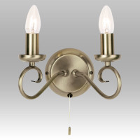 Endon 180-2AN 2 Light Antique Brass Wall Light