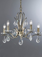 Franklite FL2299/5 Willow 5 Light Chandelier Antique Brass