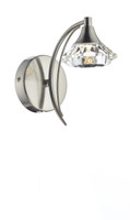 Dar LUT0746 Luther 1 Light Satin Chrome Wall Light