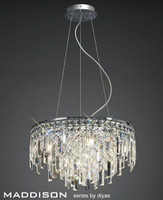 Diyas IL30254 Maddison 6 Light Crystal Ceiling Pendant Polished Chrome
