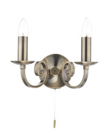 Dar MUR0975 Murray 2 Light Wall Light Antique Brass