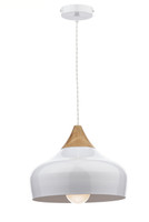 Dar GAU0102 Gaucho 1 Light Gloss White/Wood Pendant