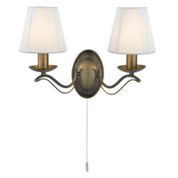 Searchlight 9822-2AB Andretti 2 Light Wall Light Antique Brass