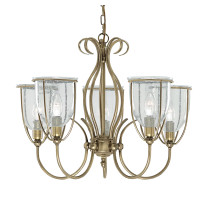 Searchlight 6355-5AB Silhouette 5 Light Ceiling Light Antique Brass