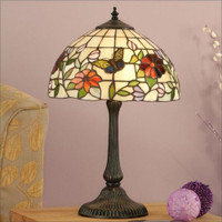 Interiors 1900 TV158S/DB405M Butteryfly 1 Light Tiffany Table Lamp