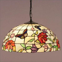 Interiors 1900 TV158L/SU02/3 Butterfly 3 Light Tiffany Pendant