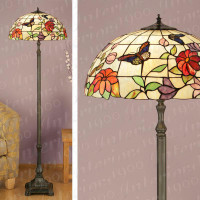 Interiors 1900 TV158L/FL420 Butteryfly 3 Light Tiffany Floor Lamp