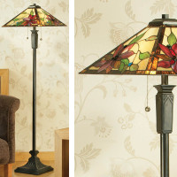 Interiors 1900 TG103SHL/FB11 Lelani 2 Light Tiffany Table Lamp