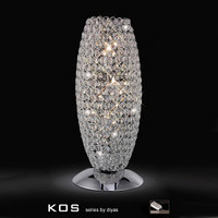 Diyas IL30411 Kos 3 Light Crystal Table Lamp Polished Chrome
