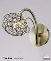 Diyas IL30941 Cara 1 Light Wall Light Antique Brass & Crystal