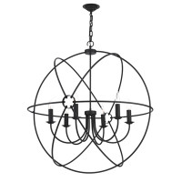 Dar ORB0622 Orb 6 Light Ceiling Pendant Black