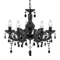 Searchlight 1455-5BK Mare Therese 5 Light Chrome & Black Chandelier