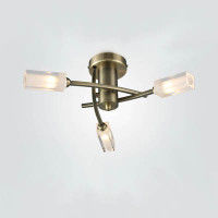 Dar MOR0375 Morgan 3 Light Ceiling Light Antique Brass